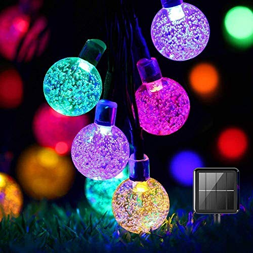 Solar String Lights Garden, 50 LED 24Ft Multi-Coloured Festival Lights Crystal Ball Decorative Fairy Lights Waterproof Indoor Outdoor for Garden, Patio, Yard, Home, Wedding, Christmas, Parties