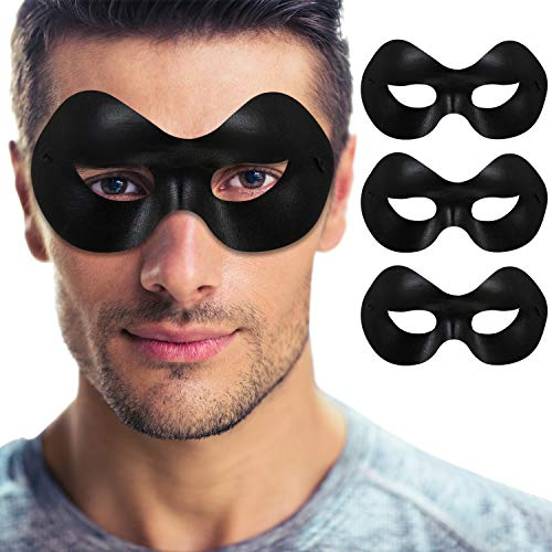 3 Stücke Maskerade Maske Männer Schwarz Augenmasken Halbmasken mit Elastischem Seil für Halloween Weihnachten Karneval Party Kostüm Zubehör