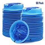 ATDAWN 50 Pack Emesis Bag, Disposable Vomit Bags, Aircraft & Car Sickness Bag, Nausea Bags for Travel Motion Sickness, 50 Pack (Blue)