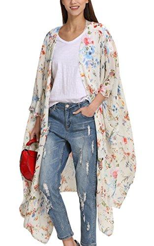 Hibluco Mujer florale Kimono Cardigan Playa Gasa Blusa Tops Bikini Cover Up K94 M