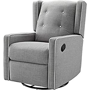Gliding Chair Glider for Nursery Rotating Swivel Button Tufting Recliner Chair Armrest Relaxation Leg Rest Modern Indoor Comfy Contemporary Comfortable Bedroom Furniture Gray & eBook by NAKSHOP