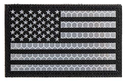 Reflective Tactical Patches of USA American Flag, with Hook...