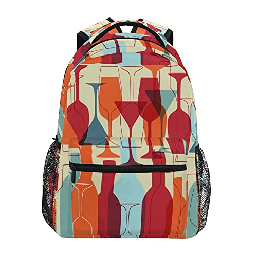 HaJie - Mochila con estampado de botellas de vino, mochila de viaje de gran capacidad, casual, para escuela, libros, bandoleras, ordenador portátil, para mujeres, hombres, adolescentes y niños