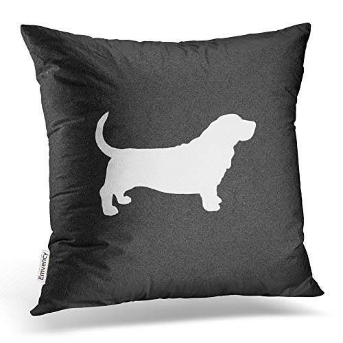 accrocn manta fundas de almohada de Basset Hound perro silueta blanco y negro lumbar almohada decoración cojín decorativo fundas de almohada de poliéster 18x 45,72cm cuadrado funda de almohada cremallera oculta