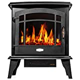 Barton 1500W Standing Vintage Electric Fireplace Stove Heater Infrared Quartz Freestanding 3D Flame Log Stove Firebox, Black