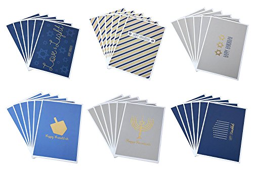 Happy Hanukkah Greeting Cards with Envelopes (4 x 6 in, 36 Pack)