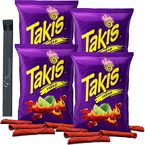 Takis Fuego Chilli Pepper & Lime Tortilla Hot Chips (4 Count 4oz Bags) w/ CC's Sweets & Snacks Bag Clip