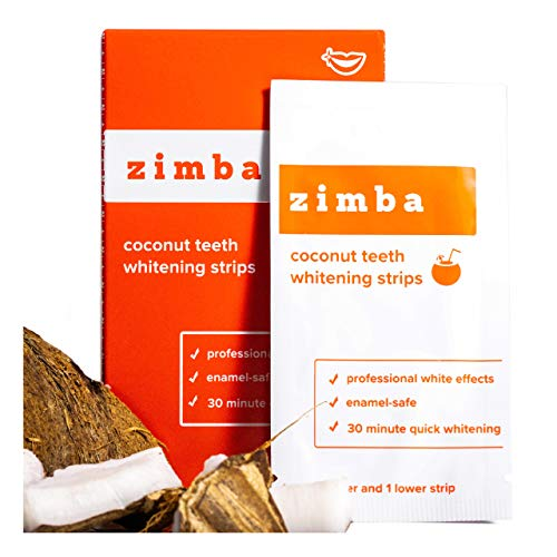 ZIMBA Teeth Whitening Strips - Coconut Essential Oil - Zimba Whitening Strips - White Strips Teeth Whitening Sensitive Teeth - Best Teeth Whitener - Natural Whitening Strips - 28 Strips - 14 Uses