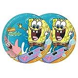 CAPRILO. Lote de 24 Platos Infantiles de Cartón Bob Esponja Vajillas. Juguetes y Regalos Baratos para Fiestas de Cumpleaños, Bodas, Bautizos y Comuniones.