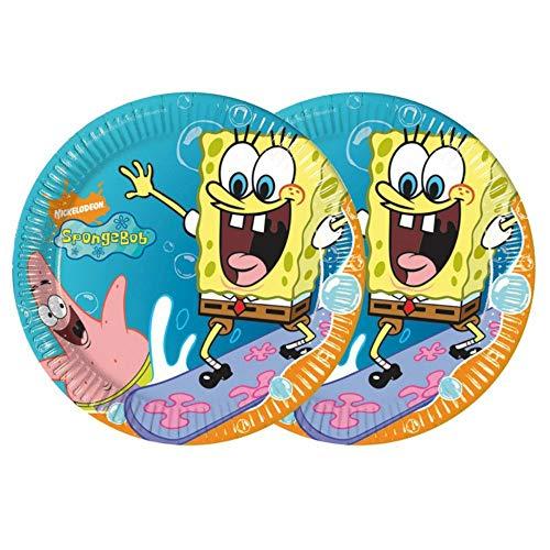 CAPRILO. Lote de 24 Platos Infantiles de Cartón Desechables Bob Esponja Vajillas Desechables. Juguetes y Regalos Fiestas de Cumpleaños, Bodas, Bautizos y Comuniones.