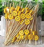 AILEXI Cocktail-Sticks 100 Zählungen Zahnstocher Aus Holz Partyzubehör RÜSchen Fingerfood Obst Sandwich Knabbereien - Gelbes Lächeln