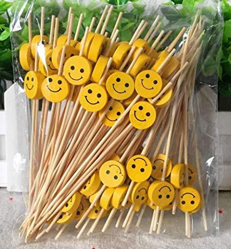 Lming Cocktail-Sticks 100 Zählungen Zahnstocher Aus Holz Partyzubehör RÜSchen Fingerfood Obst Sandwich Knabbereien - Gelbes Lächeln