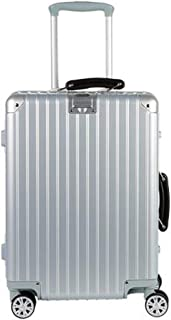Luggage, PC Material Unisex Trolley Case, Silver, Large Capacity Travel Equipment (Color : Silver, Size : 24 inches)