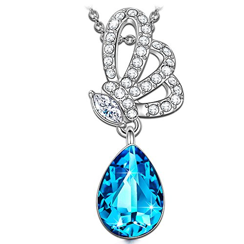 Kate Lynn Necklaces for Women Jewelry Gift Women Blue Crystals from Swarovski Butterfly Pendant Necklace Jewelry Birthday Anniversary Valentine Gifts for Women Girls Girlfriend Gifts for Her