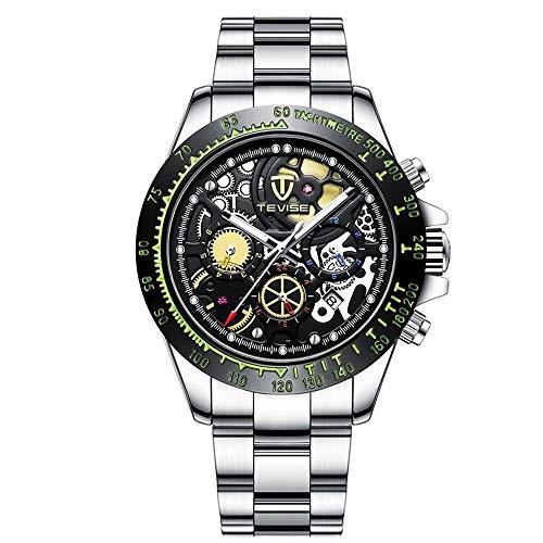 ZWH Relojes mecánicos de los Hombres Reloj de Pulsera hermético Marca TEVISE Reloj Grande del dial de la Manera Ocasional de Seis Pines de Negocios. (Color : 1, Size : 42.3mm)