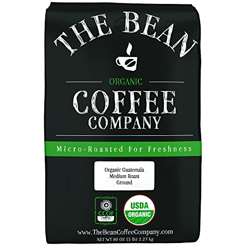 The Bean Coffee Company Organic Guatemala, Medium Roast, Ground, 5-Pound Bag