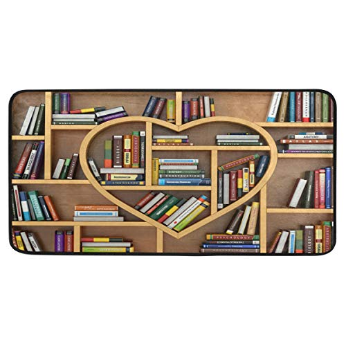 FELIZM langer Küchenteppich, Bücherregal, Bibliothek, Liebe, Herz, Teppich, Fußmatte, rutschfest, waschbar, Fußmatte für Eingangsbereich, Schlafzimmer, Büro, 99,1 x 50,8 cm