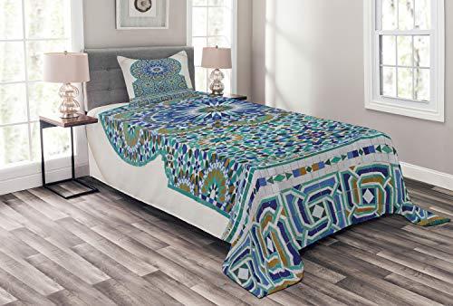 ABAKUHAUS Marokkaans Bedsprei, Eastern keramische tegels, Decoratieve Gewatteerde 2-delige Spreiset met 1 Kussensloop, 170 x 220 cm, Pale Coffee Turquoise