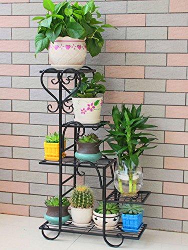 $Etagère d'exposition Support de fleur de fer, présentoir de pots de plusieurs étages, support de finition de salon ( Couleur : Noir , taille : 68*23*85cm )