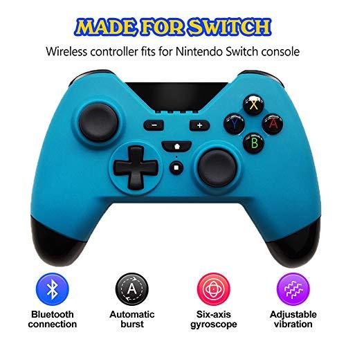 XINX Clásica función de Juego de botón de Auricular Bluetooth Wireless Switch Controller NS Gamepad para el Interruptor máquina de Juego de PC de Vapor,Azul