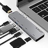USB C ハブ Omars デュアル Type‐C 7in1 ハブ MacBookPro 2020/2019/2018 13