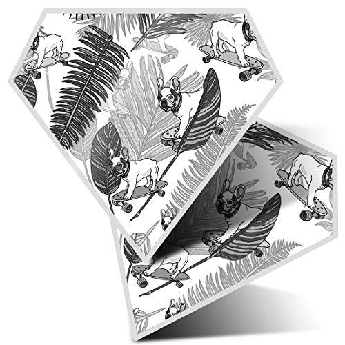Impresionante pegatinas de diamante de 7,5 cm BW – Skate Bulldog francés perro cachorro divertido calcomanías para portátiles, tabletas, equipaje, libros de chatarra, frigorífico, regalo genial #42385