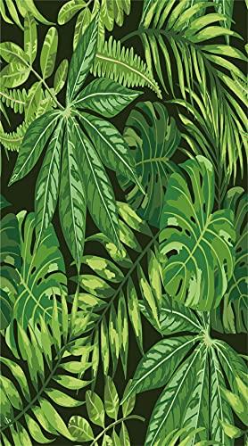 Toalla de playa XXL verde tropical, 100 x 180 cm, 100 % microfibra, toalla de playa, toalla de verano ⭐