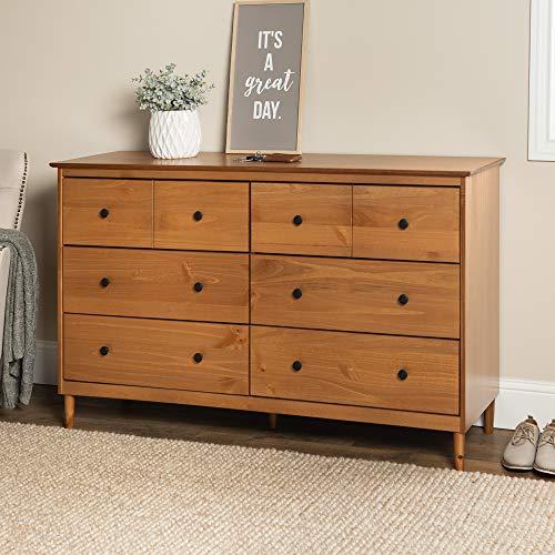 Walker Edison Wood Dresser Bedroom Storage Drawer Organizer Closet Hallway, 6, Caramel Brown