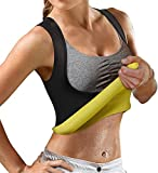 Women's Sport Hot Sweat Slimming Neoprene Shirt Vest Body Shapers for Weight Loss No Zipper Gray Sauna Tank Top Shirt (Black Neoprene Shirt Vest, XXXL(US 26))