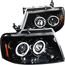 For Ford F150 Lincoln Mark LT Jet Black LED Halo Projector Headlights Pair