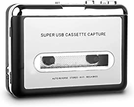 Cassette Player, Portable Tap to MP3 Converter Via USB, Audio Music Player Capture for Laptop PC and Mac with Software CD ...