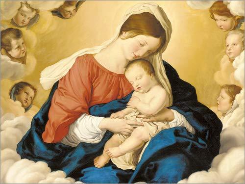 Posterlounge Cuadro de PVC 80 x 60 cm: The Madonna and Child in The Glory of The Angels de Il Sassoferrato/Bridgeman Images