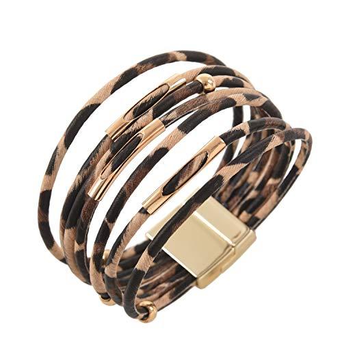 Noblik Mode Tier Leoparden Muster Armband Wickel Armband Fuer Legierung Rohr Mehr Schichtigen Armreif Schmuck Geschenk