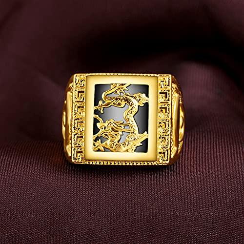 YANGYUE Anillo de Oro Amarillo 999 para Hombres, Piedras Preciosas deobsidiana NaturalBijoux Femme Diamant Joyas, Anillos de joyería de Oro para Hombres