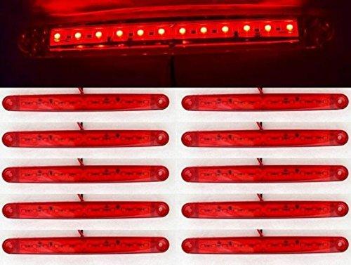 Vnvisyp - Lot de 10 Feux de position Latéraux Rouges 12 SMD LED 24 V Pour véhicules de grande taille