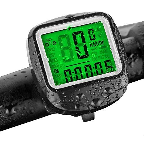 DOOK Fietscomputer, draadloos, waterdicht, 23 functies, draadloze snelheidsmeter, lcd-display, automatische snelheid voor wielrennen, realtime speedtrack