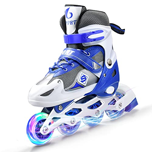 Inline Skates Kinder Blau,Verstellbare Rollschuhe mit Beleuchteten Rollen Sind für Kinder (Blue, M)