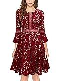 MISSMAY Women's Vintage Full Lace Contrast Bell Sleeve Big Swing A-Line Dress, Medium, Red