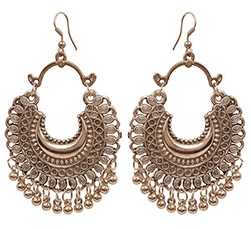 NEW! Touchstone'Indian Oxidized Jewelry' Ethnic Handcrafted Filigree Moon Chaand Inspired Tribal Gypsy Designer Jewelry Chandelier Earrings In Oxidized Finish For Women.