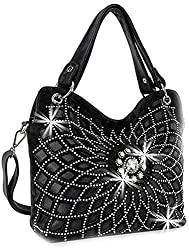 Black Double Handle Starburst Bling Handbag
