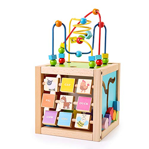 SainSmart Jr. WOODCUBE01 Kinder hölzerne Aktivität Würfel mit Perle Labyrinth 5-in-1 Shape Sorter