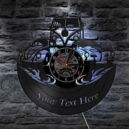 Luz de noche para niños Camper Vinyl Record Reloj de pared Decoración del hogar Personalice su nombre Logotipo Número de automóvil Camper Retro Car Reloj de pared Dormitorio Sensor táctil Lámpara