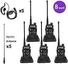 Baofeng Radio 8Watt Ham Radio Dual Band Baofeng BF-F8GP Two Way Radio UHF VHF Walkie Talkies with TIDRADIO-771 Antenna 5 Pack