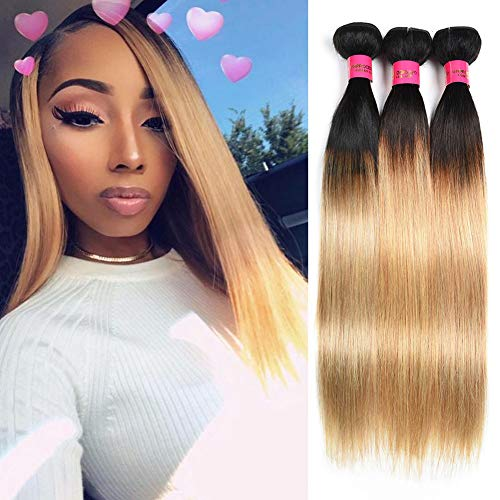 "Brazilian Hair Bundles Deals Human Hair 2 Tone Ombre Blonde Brazilian Human Hair 3 Bundles Straight 1B/27 Colored Brazilian Virgin Hair Bundles 12""14""16"""