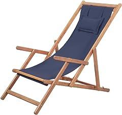 vidaXL Silla Playa Plegable Tela Azul Asiento Piscina Patio Terraza Exterior