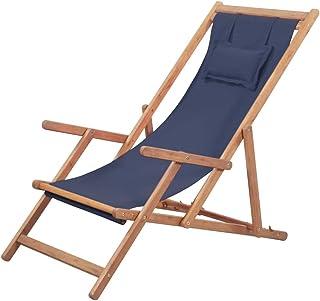 Festnight Silla de Playa Jardin Tumbonas Plegable 3 Posiciones Ajustables con Almohada Azul