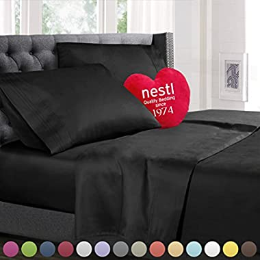 Queen Size Bed Sheets Set Black, Bedding Sheets Set on Amazon, 4-Piece Bed Set, Deep Pockets Fitted Sheet, 100% Luxury Soft Microfiber, Hypoallergenic, Cool & Breathable
