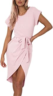 Women's Casual Short Sleeve Front Slit Summer Mid-Calf Dress Sexy Solid Party Dress with Belt