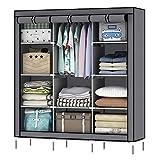 OUMYJIA 69 inches Non-Woven Fabric Portable Clothes Closet Wardrobe Storage Organizer, 51L x 17.5W x 69H inches, Grey