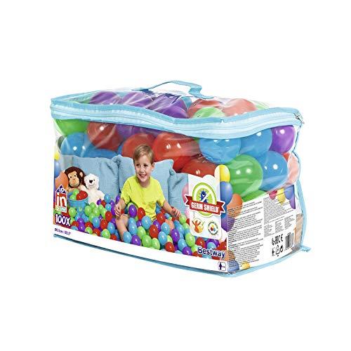 Bestway 52296 Up, In & Over antimicrobiële speelballen, 100 stuks, 6,5 cm, kleurrijk